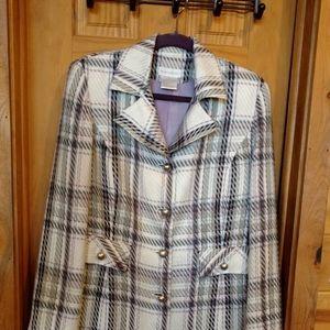 Lightweight Purple Gray Plaid Coat Jacket